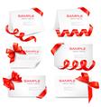 Big set of red gift bows and ribbons vector