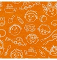 Seamless kids faces and toys pattern background vector
