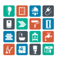 Silhouette construction and home renovation icons vector