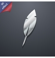 Feather retro pen icon symbol 3d style trendy vector