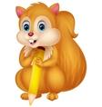 Cute squirrel cartoon holding pencil vector