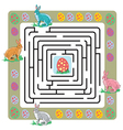 Easter maze with bunnies and eggs vector