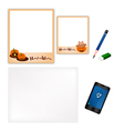 Pencil and halloween pumpkin frame with blank page vector