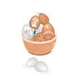 Beautiful easter eggs in a brown basket vector
