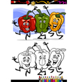 Vegetables group cartoon for coloring book vector