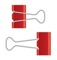 Binder clips red paper clip real metal icon vector