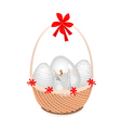 A brown basket of beautiful easter egg vector