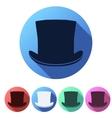 Set flat icons of black gentleman hat cylinder vector