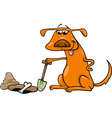 Dog with bone cartoon vector
