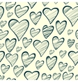 Seamless pattern with outline decorative hearts vector