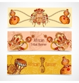 Africa sketch colored banners horizontal vector