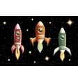 Set of three retro rockets vector