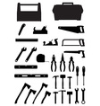 Black silhouette set tools vector