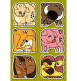 Set of cartoon domestic farm animal stickers vector