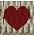 Seamless pattern with red knitted heart vector