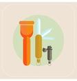 Flashlight knife lighter icon vector
