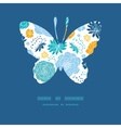 Blue and yellow flowersilhouettes butterfly vector