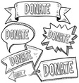 Doodle label tag banner donate vector
