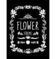 Flower frame hand drawn black and white vector