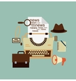 Typewriter hat paper sheets magnifying glass vector