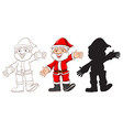 Sketches of santa claus in three different colours vector
