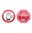 Stop warning road sign with hand vector