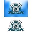 Marine heraldic label vector