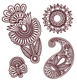 Flowers and paisley doodle design elements vector