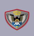 War emblem military logo skull wearing a helmet vector