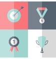 Flat career success icons set vector