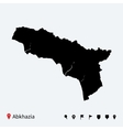 High detailed map of abkhazia with navigation pins vector