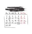 Handdrawn calendar june 2015 vector