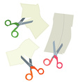 Scissors and paper coupons set - hand drawn vector