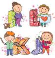 Funny alphabet with kids ijkl vector