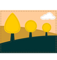 Stitched landscape with trees and cloud vector