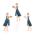Three girls healthy and unhealthy life style vector