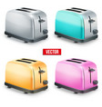 Set of bright retro toasters isolated on white vector