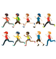 A group of kids running vector
