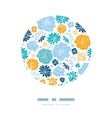 Blue and yellow flowersilhouettes circle decor vector