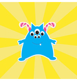 Cute cartoon blue monster card vector