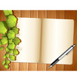 An empty template with plants and a ballpen vector