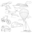 Travel set with car air-balloons ships bike vector