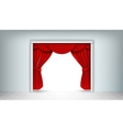 Red silk curtains vector