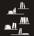 Black and white library books on shelf vector