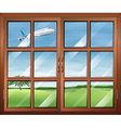 A window with a view of the airplane in the sky vector
