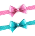 Isolated blue and pink polka dots bow vector