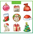 Cartoon icons set for christmas and new year vector