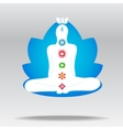 Silhouette of meditating person in lotus vector