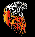 Tiger with fire tattoo stylish ornate vector