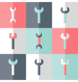 Flat nine wrench icon set vector
